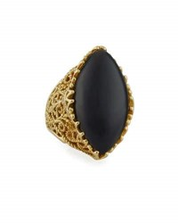 Cynthia Bach Gitan Black Onyx Cocktail Ring With Diamonds