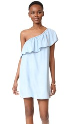 Bb Dakota One Shoulder Ruffle Dress Light Blue