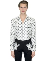 Dolce And Gabbana Crown Printed Silk Twill Pajama Shirt
