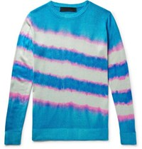 The Elder Statesman Tie Dyed Silk Sweater Turquoise