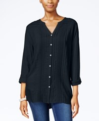Jm Collection Lace Trim Pintucked Shirt Only At Macy's Intrepid Blue