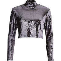 River Island Womens Purple Sequin Turtleneck Crop Top