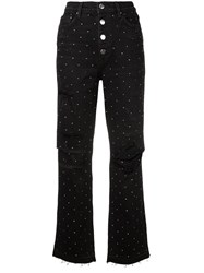 Amiri Polka Dot Ripped Jeans Black