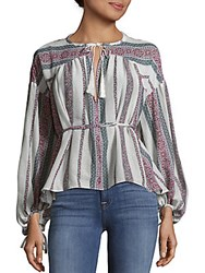 Derek Lam Striped Belted Tunic Ivory Multicolor