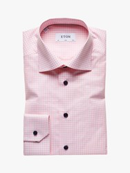 Eton Poplin Check Slim Fit Shirt Pink
