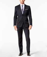 Kenneth Cole New York Slim Fit Stretch Performance Solid Travel Suit Navy