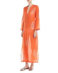 Flora Bella Daios V Neck Cotton Gauze Kaftan Coverup With Embroidery Orange
