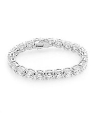 Cz By Kenneth Jay Lane White Stone Tennis Bracelet Silver