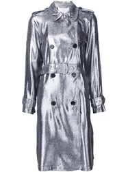3.1 Phillip Lim Lame Trench Coat Grey