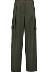 Tibi Owen Twill Wide Leg Pants Army Green