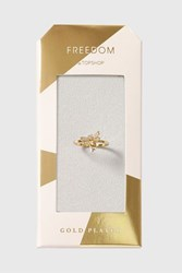 Topshop Gold Plated Dragonfly Cubic Ring Clear