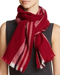 Bloomingdale's C By Lightweight Vertical Stripe Cashmere Scarf 100 Exclusive Burgundy