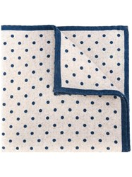 Eleventy Polka Dot Pocket Square Scarf Blue
