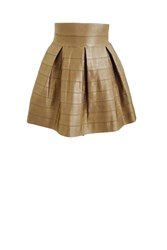 Blue Vanilla Silk Touch Bandage Box Pleat Skirt Gold
