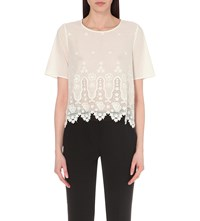 Claudie Pierlot Blue Embroidered Cotton Top Blanc