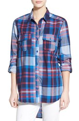 Junior Women's Bp. Plaid Long Sleeve Shirt Blue N Trop Pld