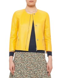 Akris Punto 3 4 Sleeve Perforated Leather Jacket Xanthoria
