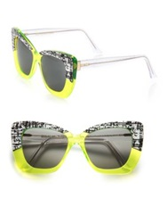 Cutler And Gross 53Mm Print And Neon Cat's Eye Sunglasses Yellow