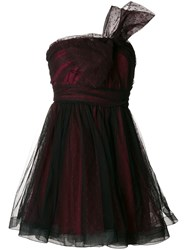 Red Valentino Ruffled Asymmetric Bow Dress Polyamide Polyester Red