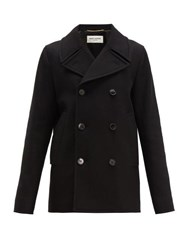 Saint Laurent Double Breasted Felted Wool Pea Coat Black
