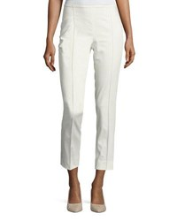 Max Mara Cropped Side Zip Ankle Pants White