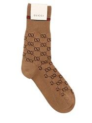 Gucci Logo Cotton Socks Camel
