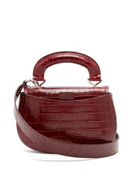 Christophe Lemaire Pumpkin Crocodile Effect Leather Bag Burgundy