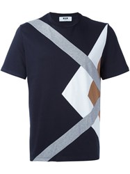 Msgm Paneled T Shirt Blue
