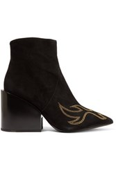 Acne Studios Angel Embroidered Suede Ankle Boots Black