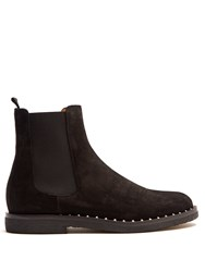 Valentino Micro Rockstud Suede Chelsea Boots Black