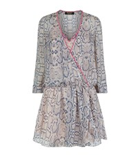 Juicy Couture Snakeskin Print Silk Wrap Dress Female Light Grey
