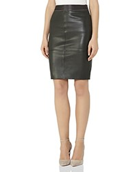 Reiss Tami Leather Pencil Skirt Olive
