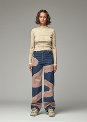 Eckhaus Latta 'S Lapped Baby Turtleneck In Sand Floral Top Size Small