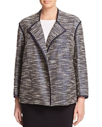 Lafayette 148 New York Plus Dane Faux Leather Trimmed Coated Tweed Jacket Ink Multi