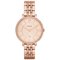 Fossil Women's Jacqueline Crystal Date Bracelet Strap Watch Rose Gold Es3546