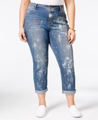 American Rag Trendy Plus Size Paint Splatter Lily Wash Boyfriend Jeans Only At Macy's