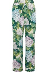 Dolce And Gabbana Ortensia Floral Print Silk Blend Charmeuse Wide Leg Pants Green
