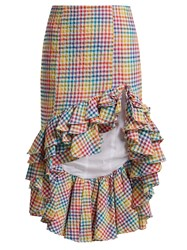 Caroline Constas Ruffled Asymmetric Hem Gingham Skirt Multi