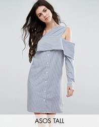 Asos Tall Off Shoulder Cotton Mix Shirt Dress In Stripe Blue White Multi