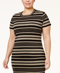 Rachel Roy Trendy Plus Size Striped Sweater Metallic Combo