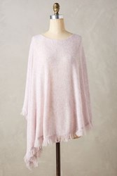 Anthropologie Cashmere Fringe Wave Poncho Pink