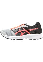 Asics Patriot 8 Cushioned Running Shoes Silver Grey Flash Coral Black
