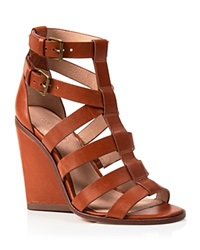 Pour La Victoire Open Toe Strappy Wedge Sandals Cecile Cigar