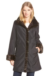 Gallery A Line Storm Coat With Faux Fur Lining And Trim Regular And Petite Black