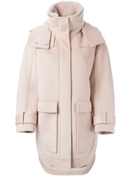 Emilio Pucci Oversized Patch Pockets Hooded Coat Nude And Neutrals
