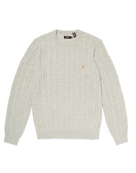 Farah Vintage Jumper In Cable Knit White