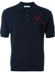 J.W.Anderson J.W. Anderson Stitch Detail Polo Shirt Blue