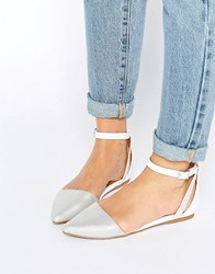 Call It Spring Cavizzano Embellished Flat With Ankle Strap Silver