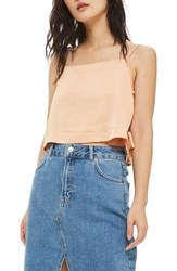 Topshop Women's Side Tie Crop Camisole Peach