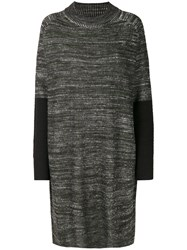 Y 3 Contrast Knitted Dress Acrylic Wool S Black